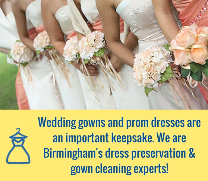 We know wedding dresses and prom dresses are an important keepsake. That's why should consider letting a professional dry cleaning company handle your wedding dress cleaning and/or preservation. We are Birmingham's dress preservation experts!